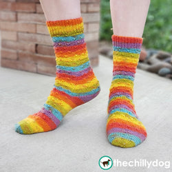 Sundog Socks Knitting Pattern PDF featuring Zitron Trekking XXL Self-Striping Yarn