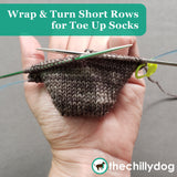 Free Climber Socks Video Tutorial: Learn How to knit wrap and turn short row sock toes from the toe up.