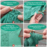 Wallflower Sweater Video Tutorials: Smocking, cast on underarm stitches, pick up underarm stitches, suspended bind off purlwise