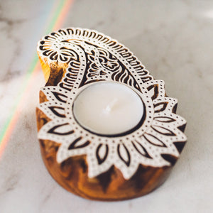 Henna Woodblock Tealight Holder