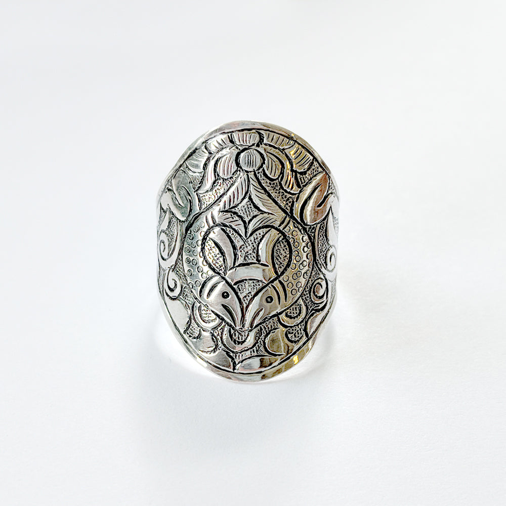 Koi Pond Silver Ring