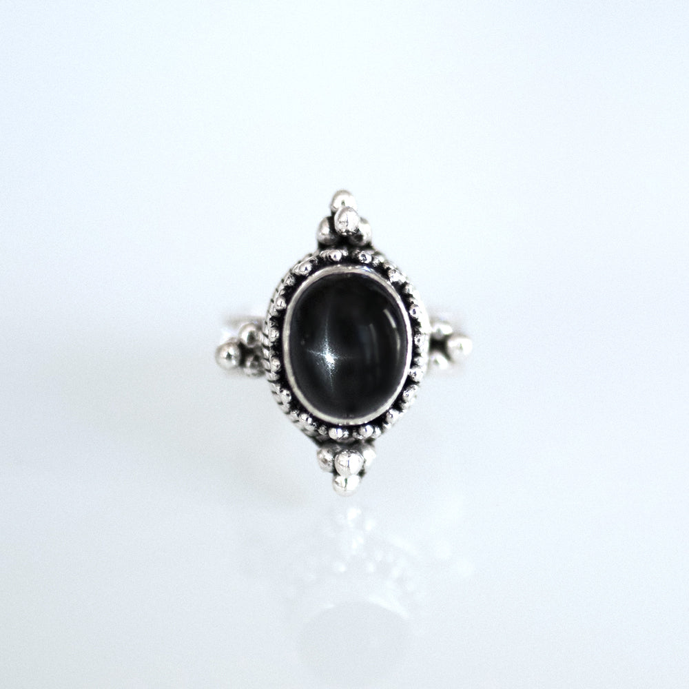Mystic Silver Ring Black Star