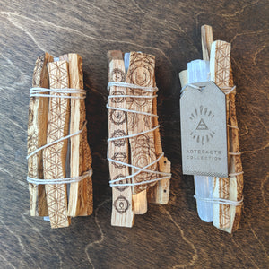 Etched Palo Santo + Selenite Bundle