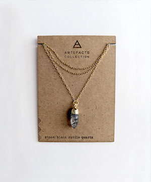 Black Rutilated Quartz Point Necklace