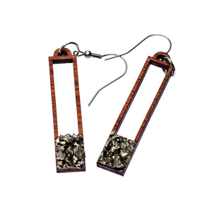 Mahogany - Pyrite Window Earrings