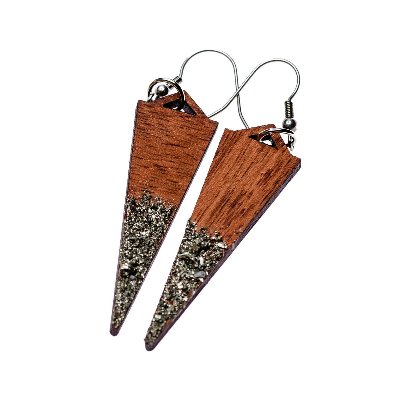 Mahogany + Pyrite Dagger Earrings