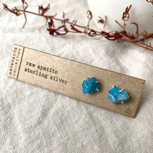 Raw Apatite Pronged Earrings