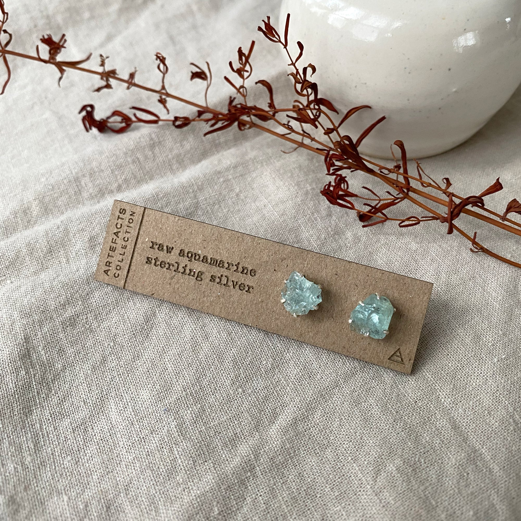 Raw Aquamarine Pronged Earrings