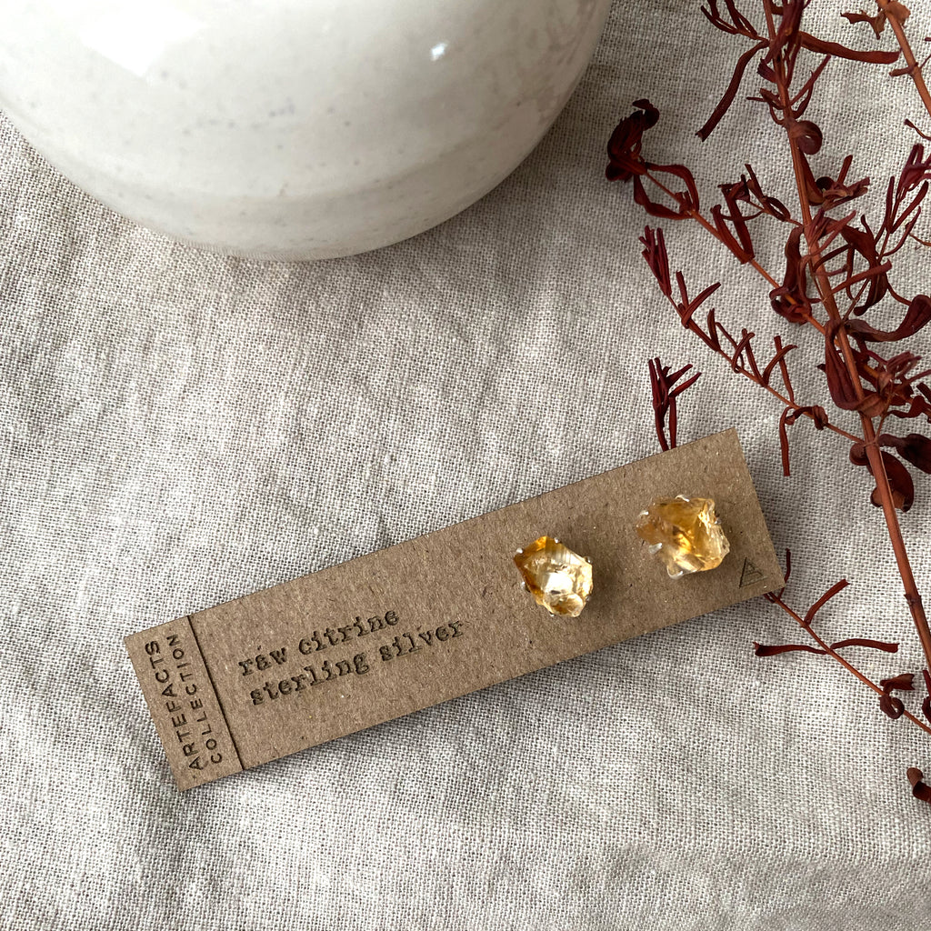 Raw Citrine Pronged Earrings