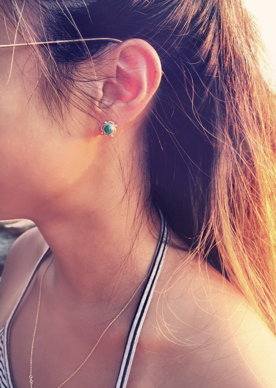 Silver Stud Earrings - Turquoise