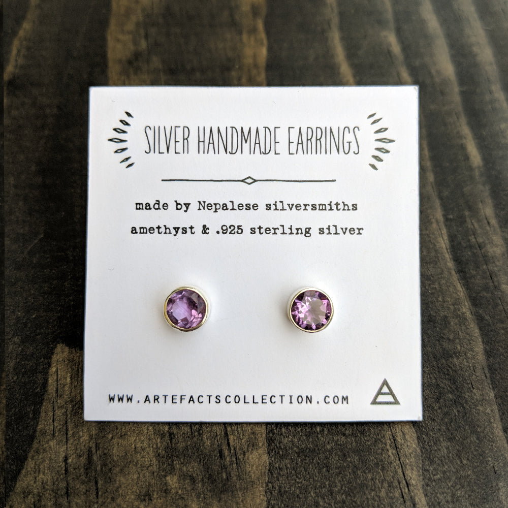 Silver Stud Earrings - Amethyst