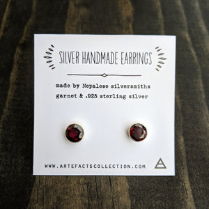 Silver Stud Earrings - Garnet