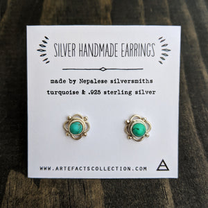 Silver Flower Stud Earrings - Turquoise