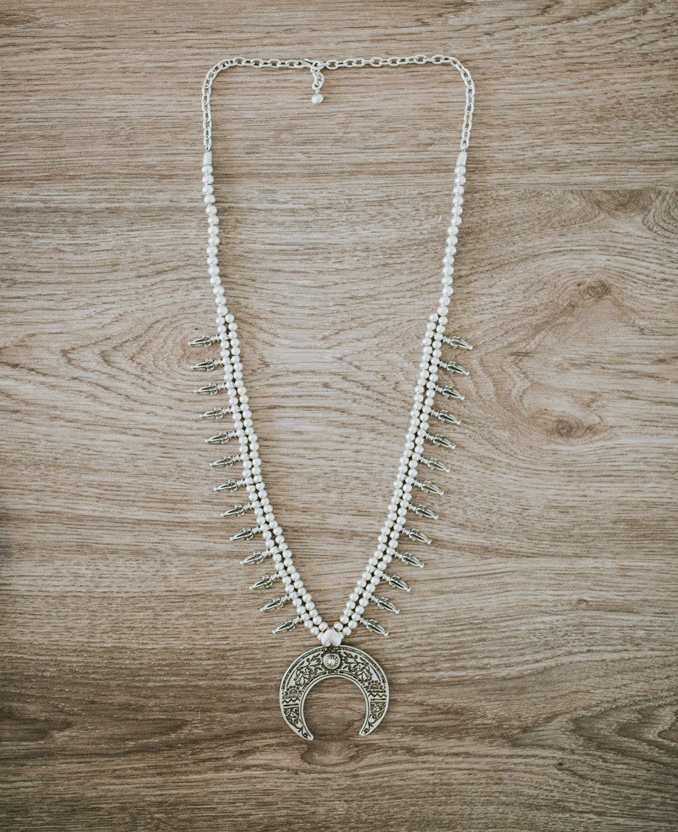Turkish Silver Squash Blossom Necklace