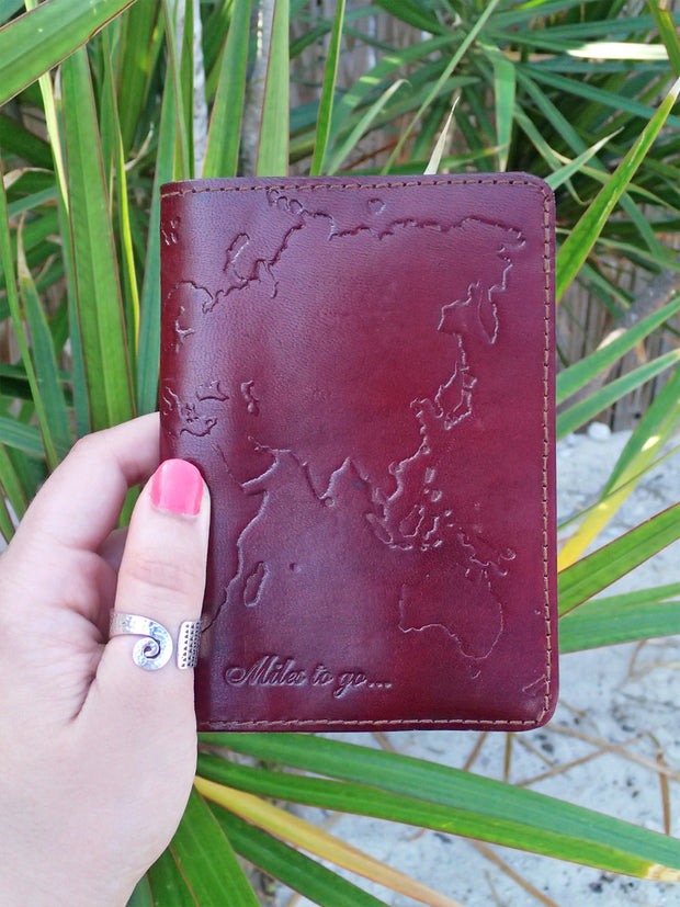 Wanderlust World Map Leather Passport Cover