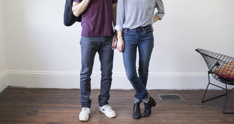 A man and woman in Raleigh Denim Workshop jeans.