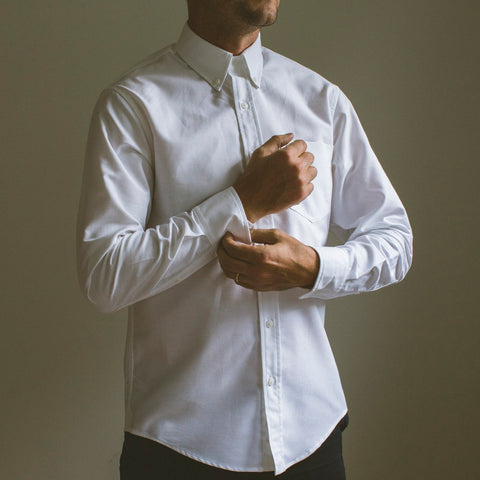 angle: white oxford | A Raleigh Denim Workshop patch pocket in white oxford