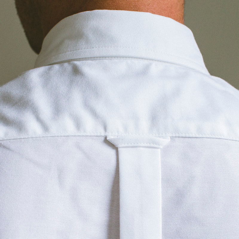 angle: white oxford  A Raleigh Denim Workshop patch pocket in white oxford