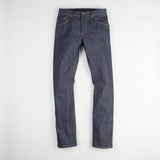 angle: 319 raw  Raleigh Denim Workshop Jones thin fit raw jeans in blue, front view