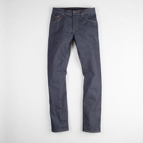 angle: 319 raw | Raleigh Denim Workshop Jones thin fit raw jeans in blue, front view