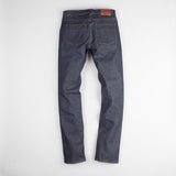 angle: 319 raw  Raleigh Denim Workshop Jones thin fit raw jeans in blue, back view