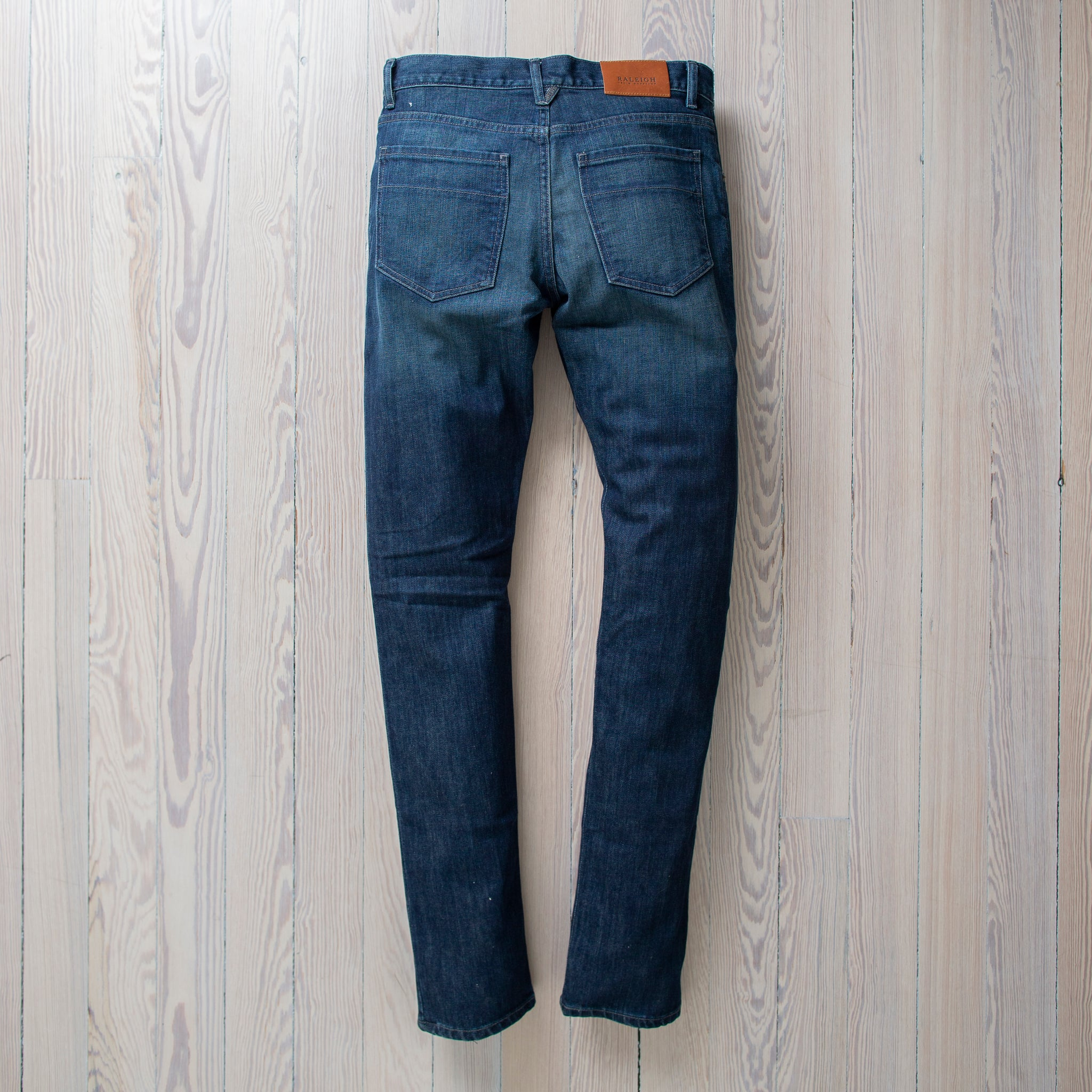 angle: mason Raleigh Denim Workshop Martin thin taper fit in mason wash, front view