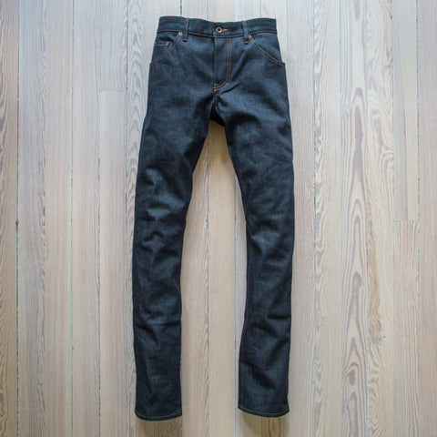 angle: 211 | Raleigh Denim Workshop Jones thin fit selvage raw jeans, front view