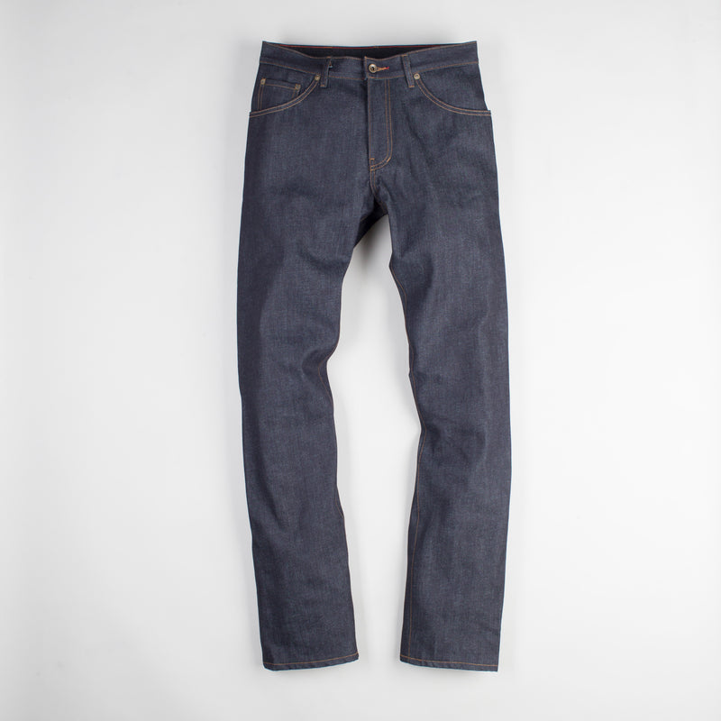 angle: 319 raw  Raleigh Denim Workshop Alexander work fit jeans raw in blue, front flat view