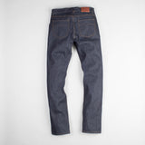 angle: 319 raw  Raleigh Denim Workshop Alexander work fit jeans raw in blue, back flat view