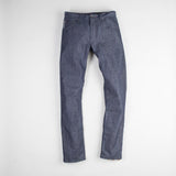 angle: wolf grey  Raleigh Denim Workshop men's Jones thin fit selvage raw denim jeans in grey, front flat view