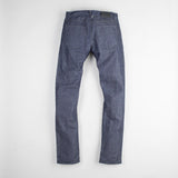 angle: wolf grey  Raleigh Denim Workshop men's Jones thin fit selvage raw denim jeans in grey, back flat view