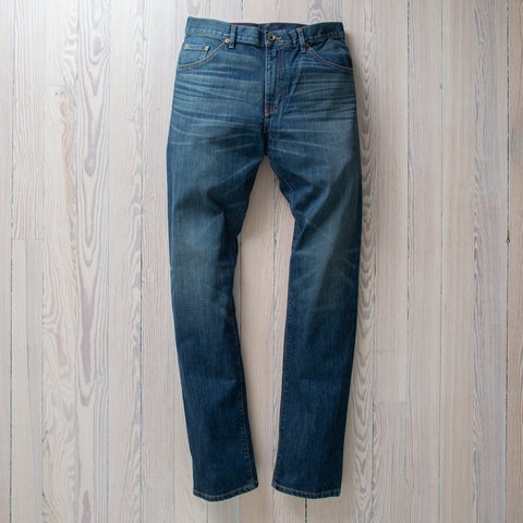 angle: 319 Wash | Raleigh Denim Workshop Alexander work fit jeans in the 319 wash, front view