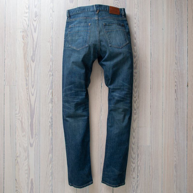 angle: 319 Wash  Raleigh Denim Workshop Alexander work fit jeans in the 319 wash, front view