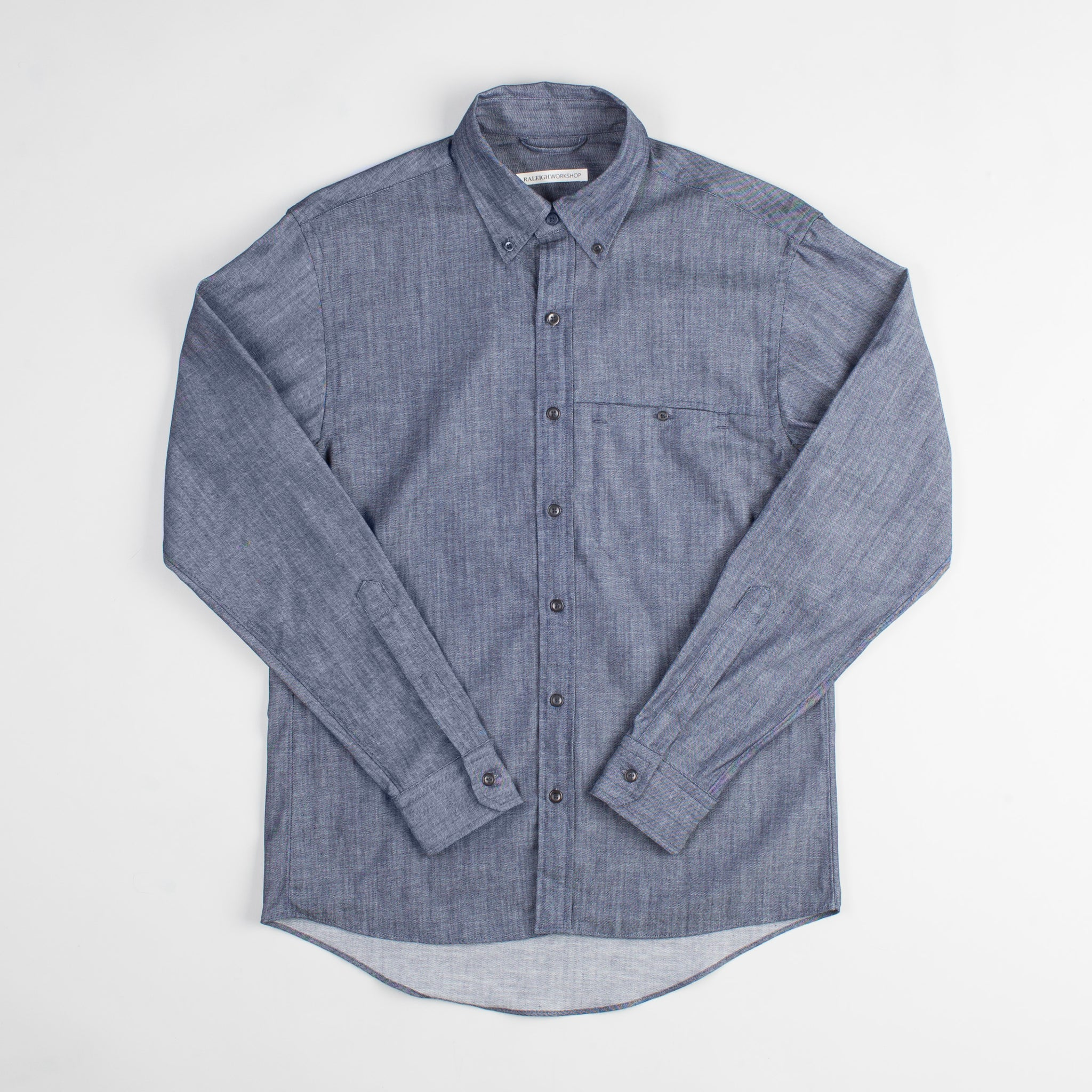 angle hover: denim  Raleigh Denim Workshop Welt-Pocket Button-up men's shirt in denim, front