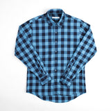 angle hover: large blue check  Raleigh Denim Workshop Classic Button-up men's shirt in blue and black checkered print, front flat