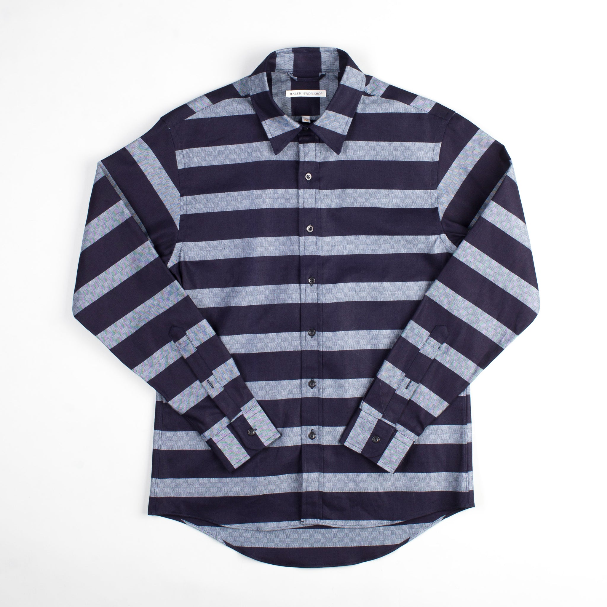 angle hover: bold indigo stripe  Raleigh Denim Workshop Classic Button-up men's shirt in indigo and gray stripes, front flat
