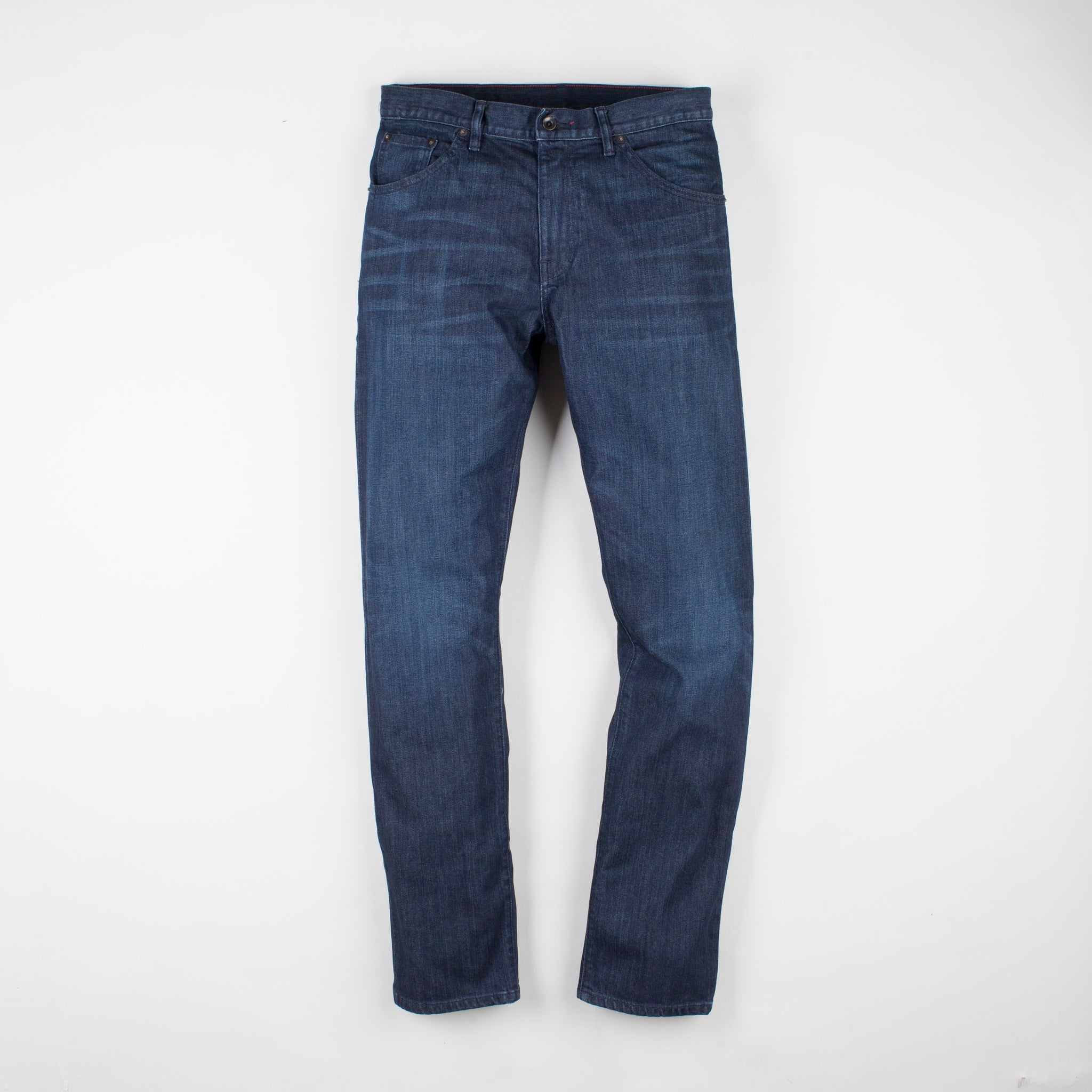 angle: jasper  Raleigh Denim Workshop Alexander work fit men's jeans in dark jasper wash, front flat view
