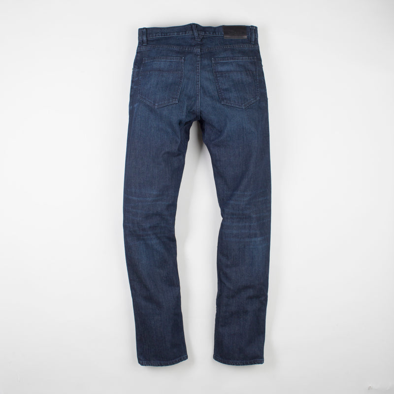 angle: jasper  Raleigh Denim Workshop Alexander work fit men's jeans in dark jasper wash, back flat view