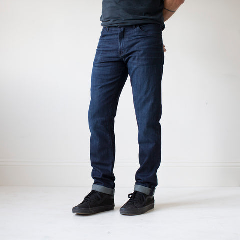 angle: jasper | Raleigh Denim Workshop Alexander work fit men's jeans in dark jasper wash, front flat view