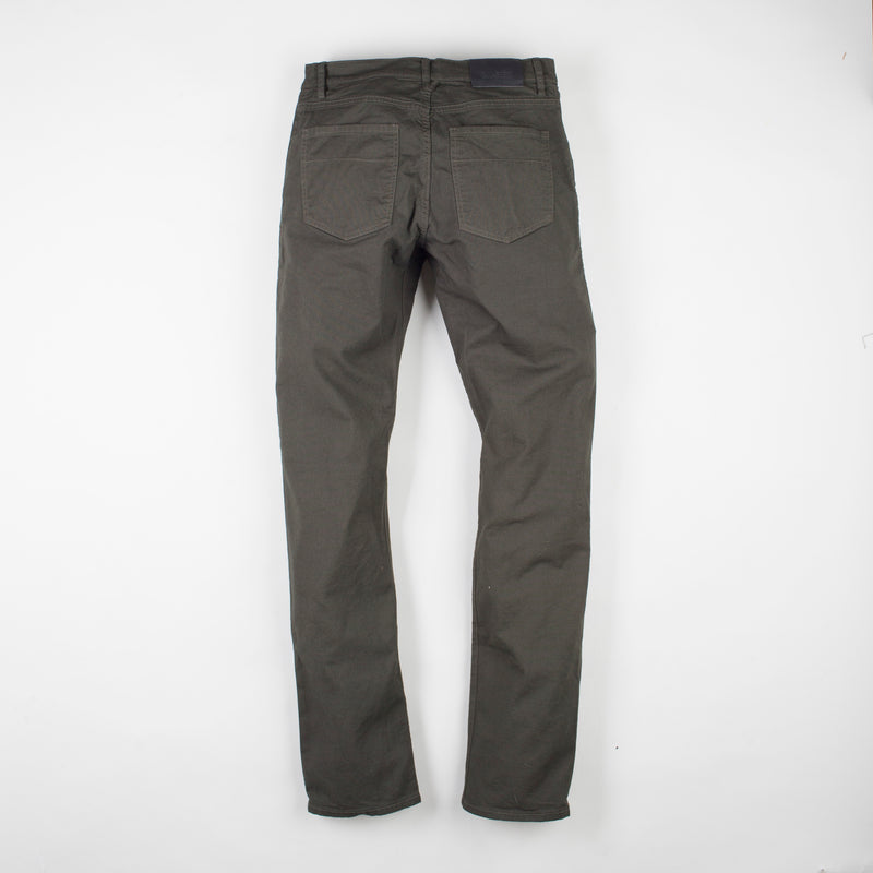 angle: military green  Raleigh Denim Workshop Jones thin fit pants in dark green, back flat view