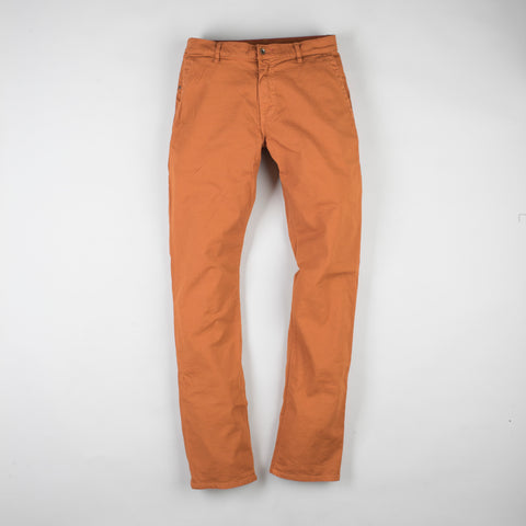 angle: chestnut | Raleigh Denim Workshop Jones thin fit pants in chestnut orange, front flat view
