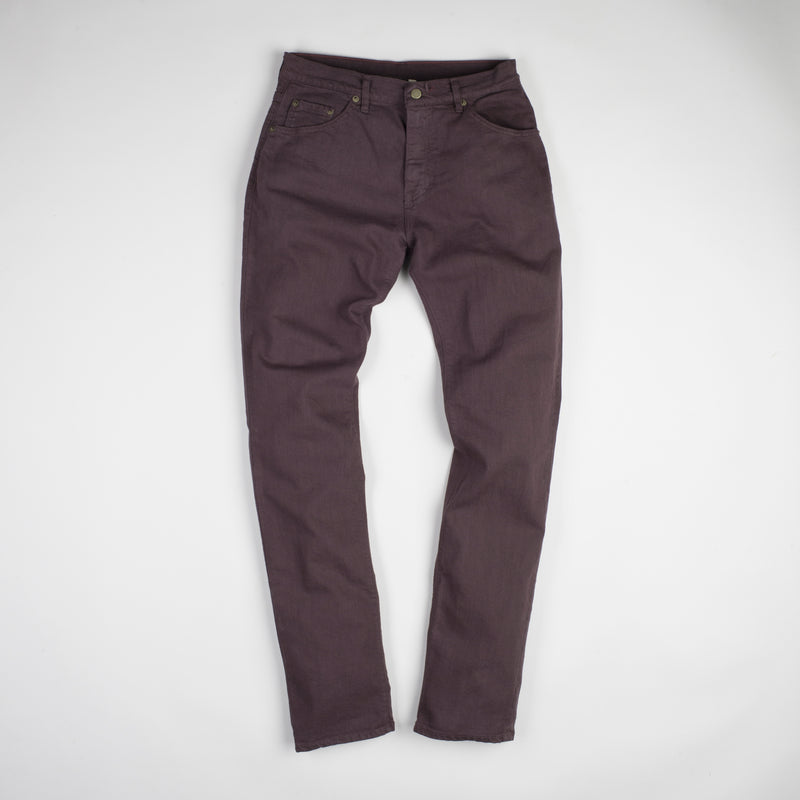 angle: walnut  Raleigh Denim Workshop Alexander work fit stretch pants in brown walnut, front