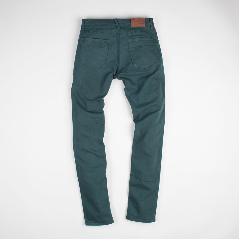 angle: juniper  Raleigh Denim Workshop Alexander work fit stretch pants in green-blue juniper, back flat view