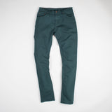 angle: juniper  Raleigh Denim Workshop Alexander work fit stretch pants in green-blue juniper, front flat view