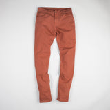 angle: burnt henna  Raleigh Denim Workshop Alexander stretch pants in red-orange burnt henna, front flat view