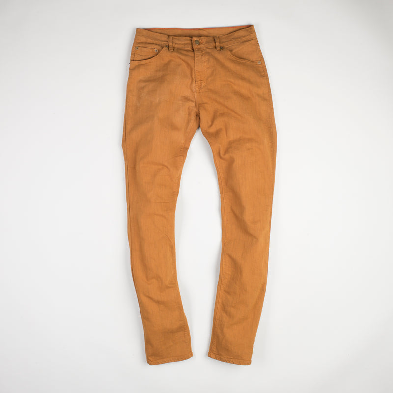 angle: chestnut  Raleigh Denim Workshop Alexander stretch pants in orange chestnut, front flat view.