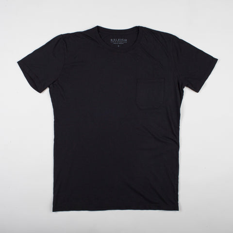 angle: black | Raleigh Denim Workshop cotton/modal pocket crew neck tee in black on model
