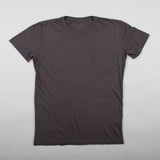 angle hover: smoke  Raleigh Denim Workshop cotton/modal pocket crew neck tee in gray-brown smoke