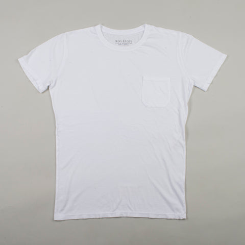 angle: white | Raleigh Denim Workshop cotton/modal pocket crew neck tee in white