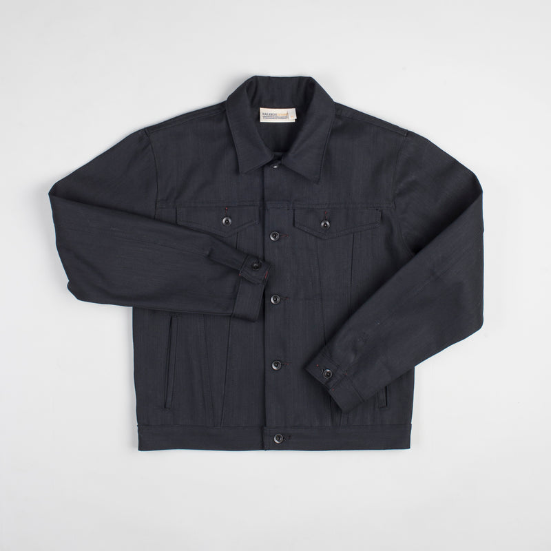 angle hover: black  Raleigh Denim Workshop Denim Jacket in black, flat front view